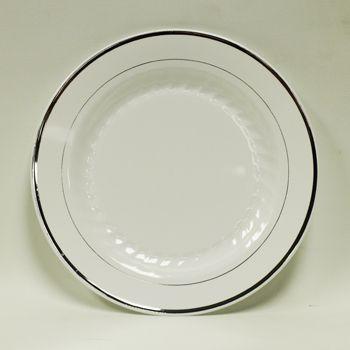 9u201d White Dinner Plate w/ Silver Trim 12ct  sc 1 st  Pinterest & 9u201d White Dinner Plate w/ Silver Trim 12ct | Wedding | Pinterest ...