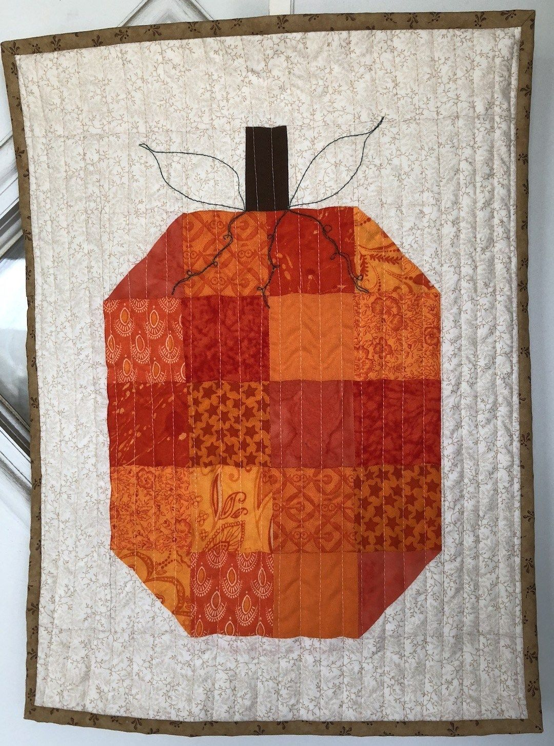 Pumpkin Harvest Blessing Door Hanging Free Pattern Home Sewn By Us Harvest Blessings Fall Quilts Quilted Wall Hangings