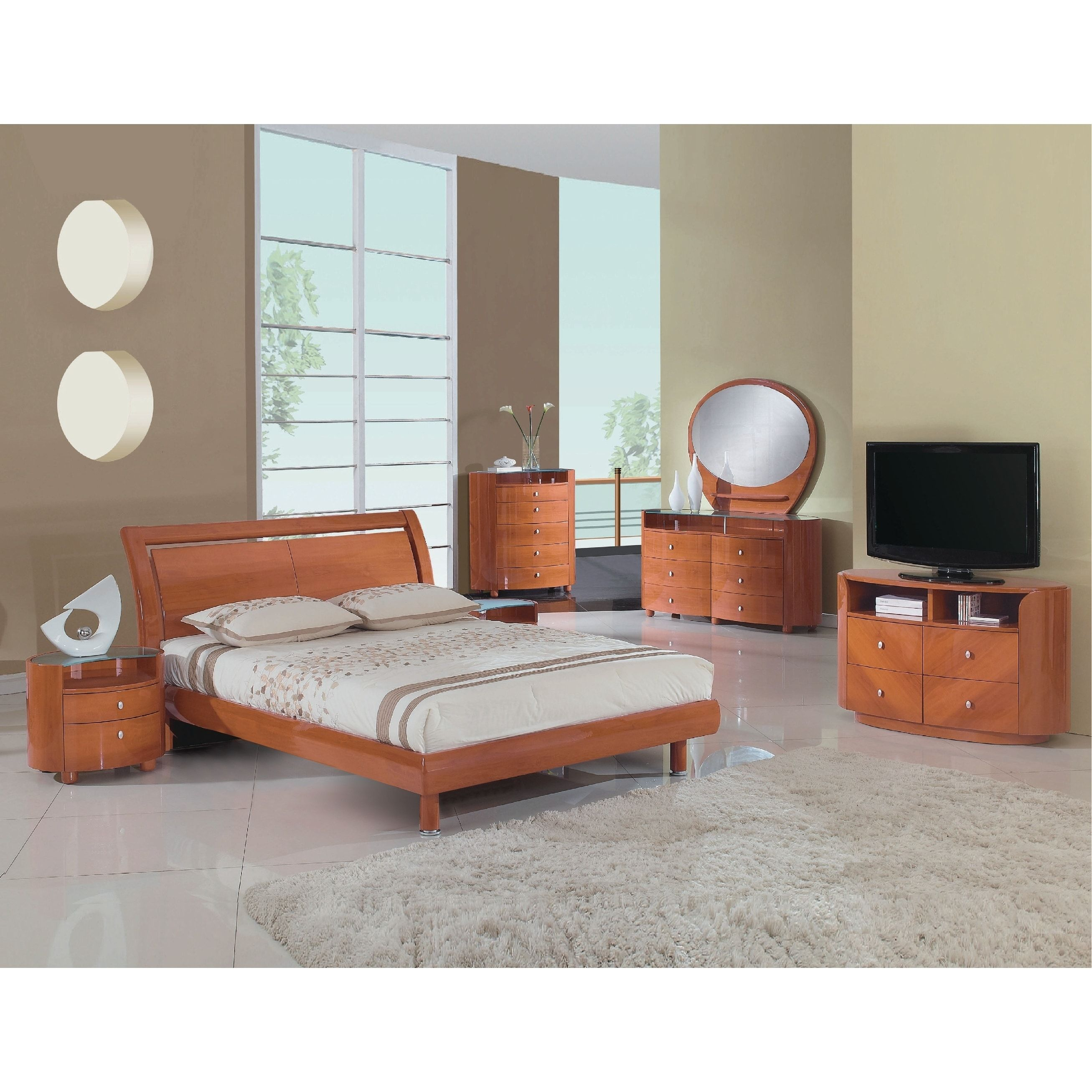 cosmo contemporary 4 piece cherry wood bedroom set california king