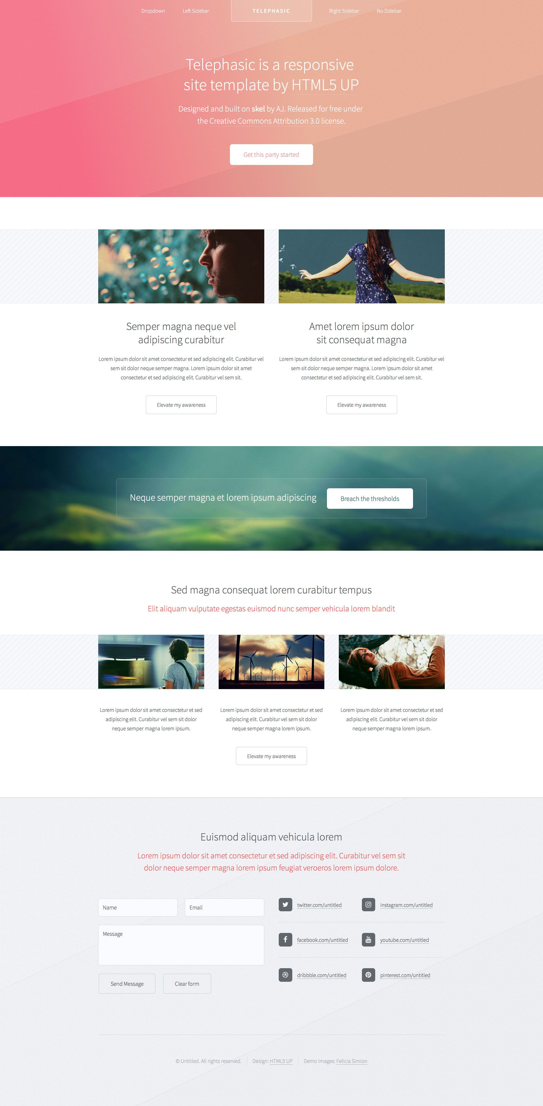 Telephasic is retina ready free responsive HTML5 website template ...