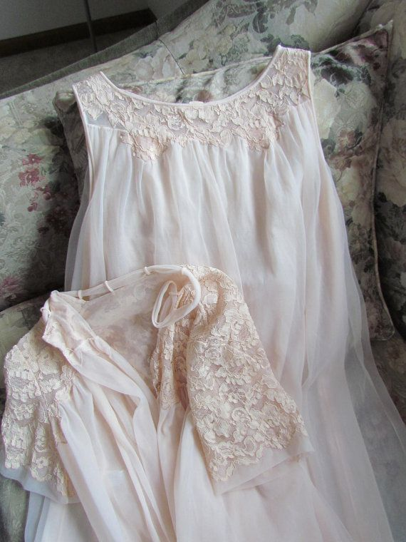 Vintage Pink Victorian Nightgown or Robe Gorgeous Lace Bell