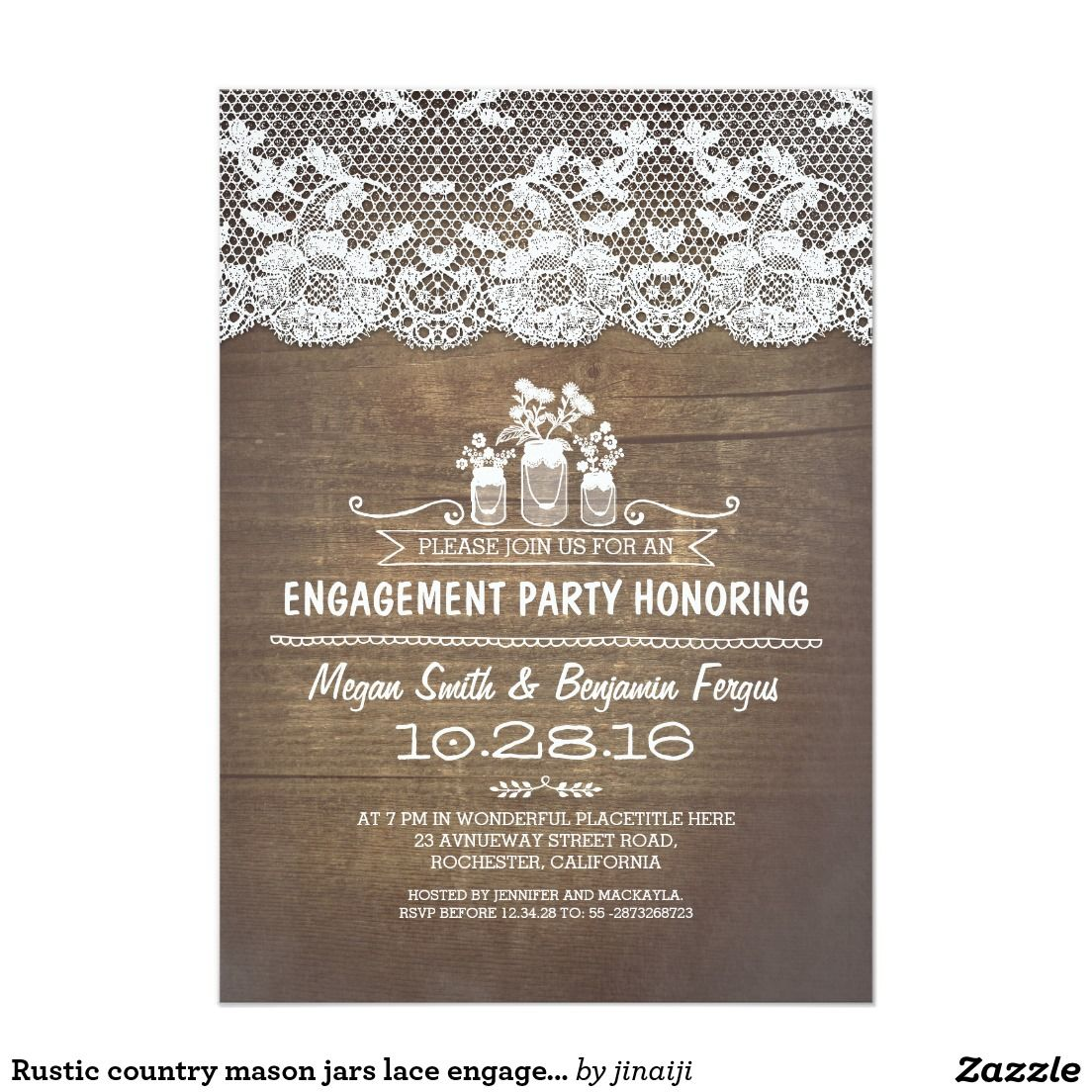 Rustic Country Mason Jars Lace Engagement Party Card Wedding