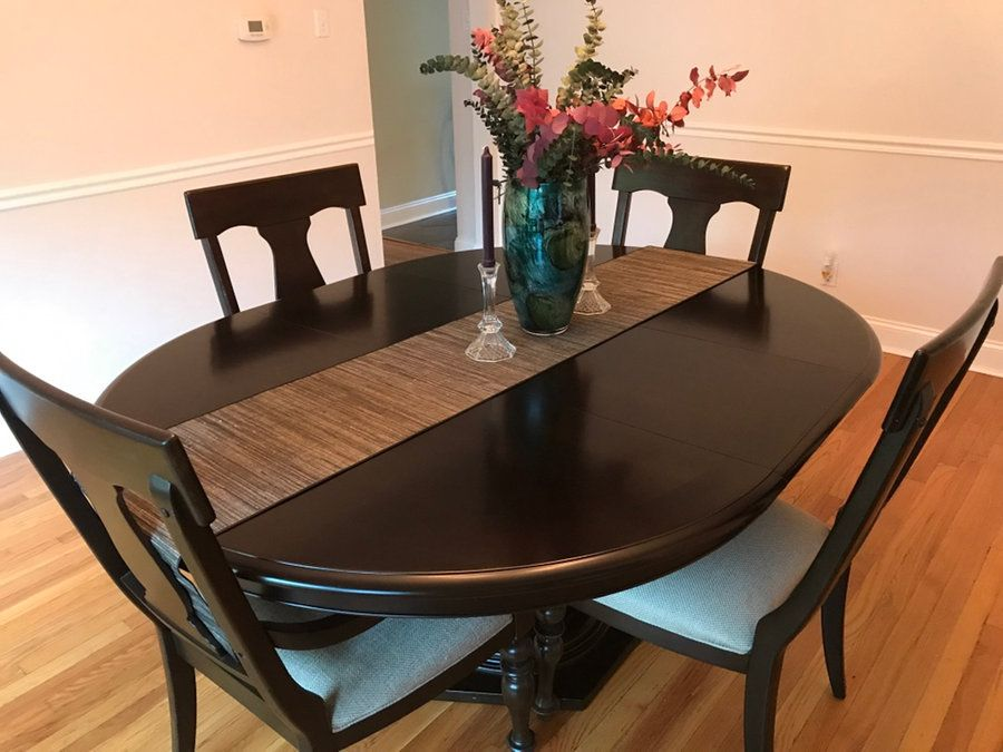 oval black wooden table top dining set of 6 in St Louis letgo