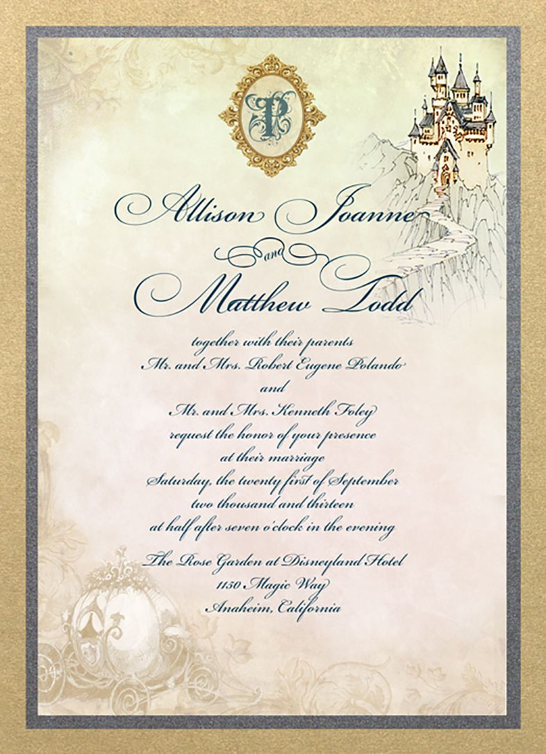 castle and carriage fairy tale wedding invitation fairy tale
