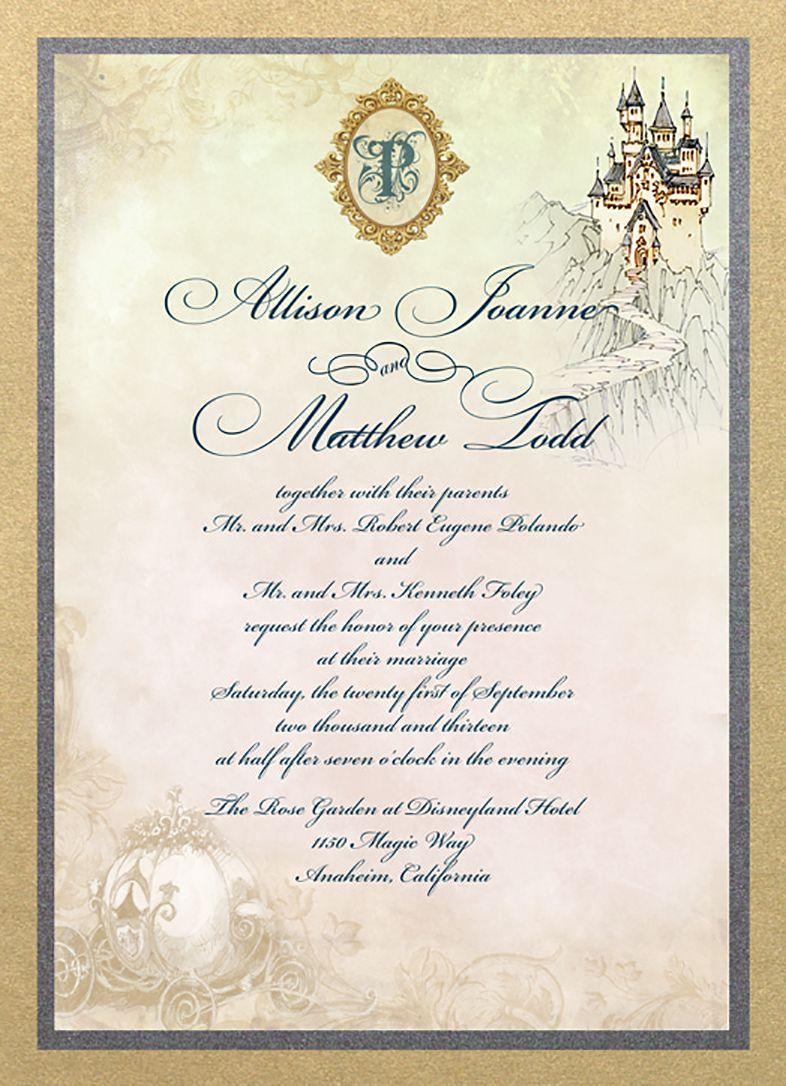 Castle And Carriage Fairy Tale Wedding Invitation Fairy Tale