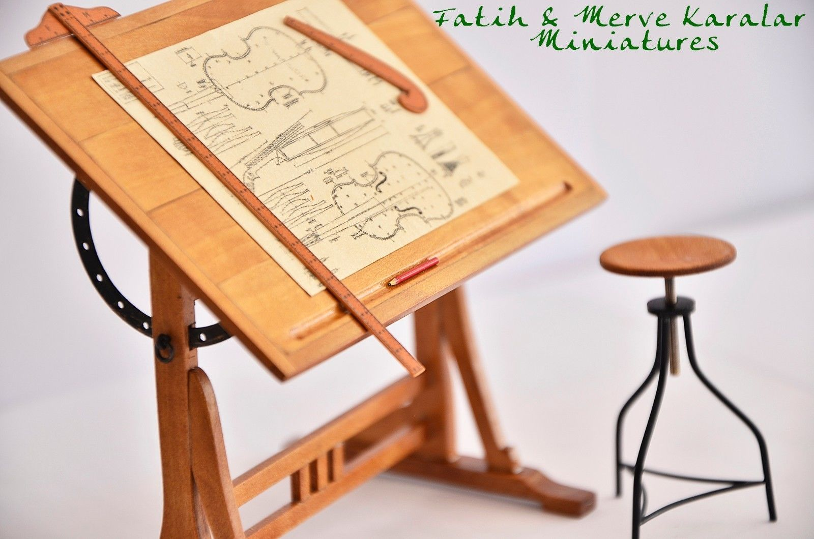 Revolving Chair For Study Small Circular Dining Table And Chairs Dollhouse Miniatures Handmade 1920s French Drafting