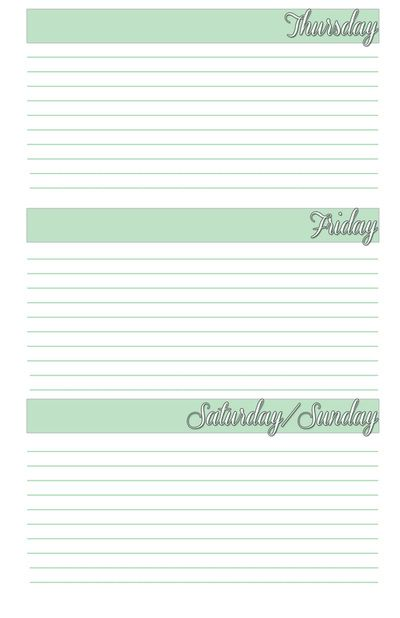 Thursday to sunday planner agenda weekly template free printable for ...