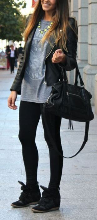 25c11d5042d 20 Cute Outfits With Black Leggings To Copy | Cardigans | Black ...