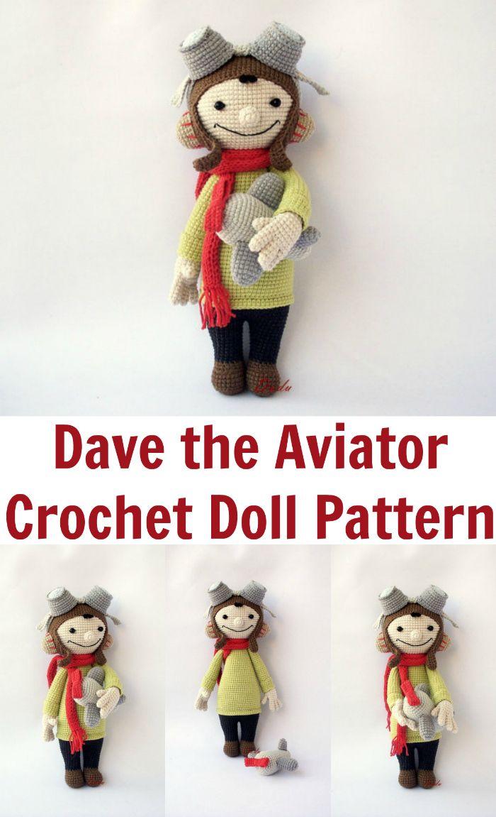 Fun crochet doll pattern. Dave is an aviator, pilot, flys a plane ...