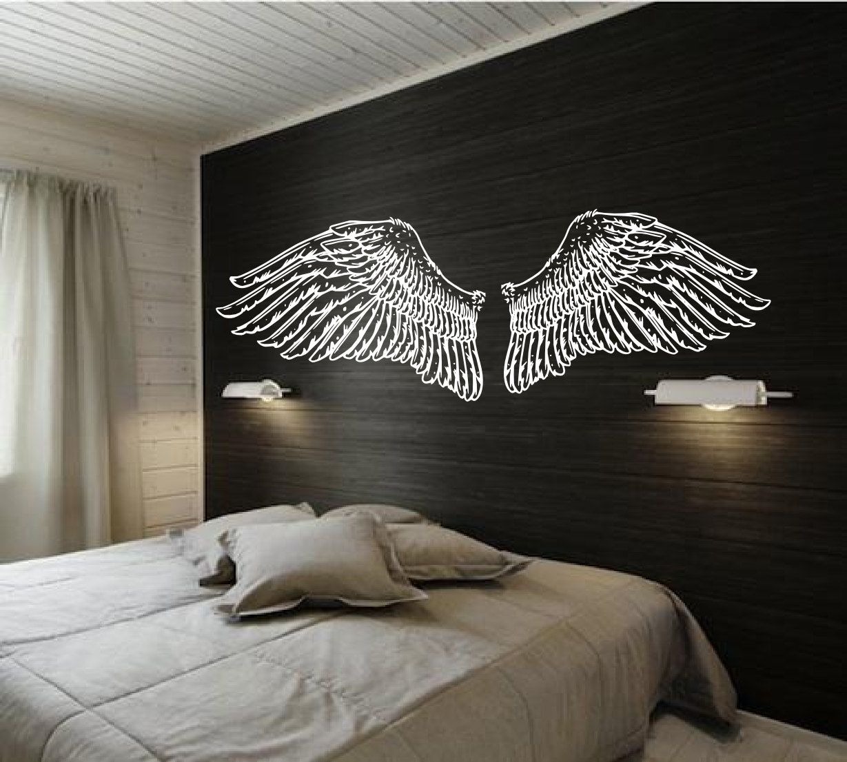 Hand Drawn Angel Wings for Headboard - Vintage Inspired doodle - Vinyl wall  art decals by
