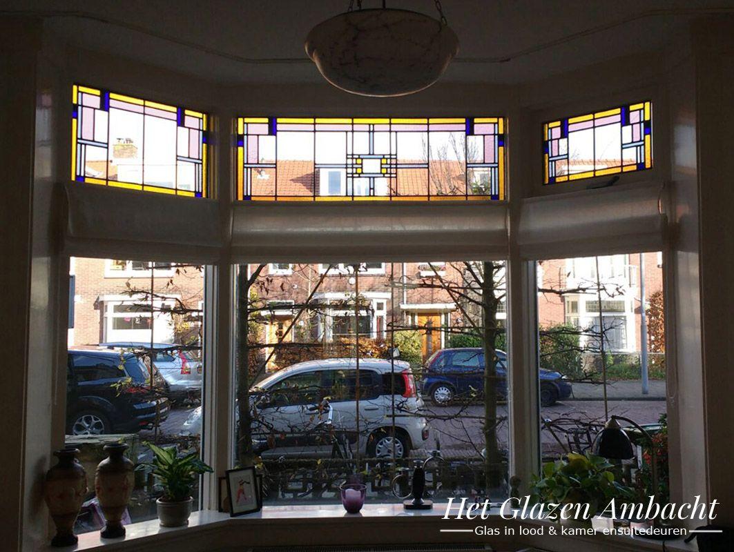 Wonderbaar erker, bovenlichten voorzien van glas in lood, jaren '30   Glas in CY-07