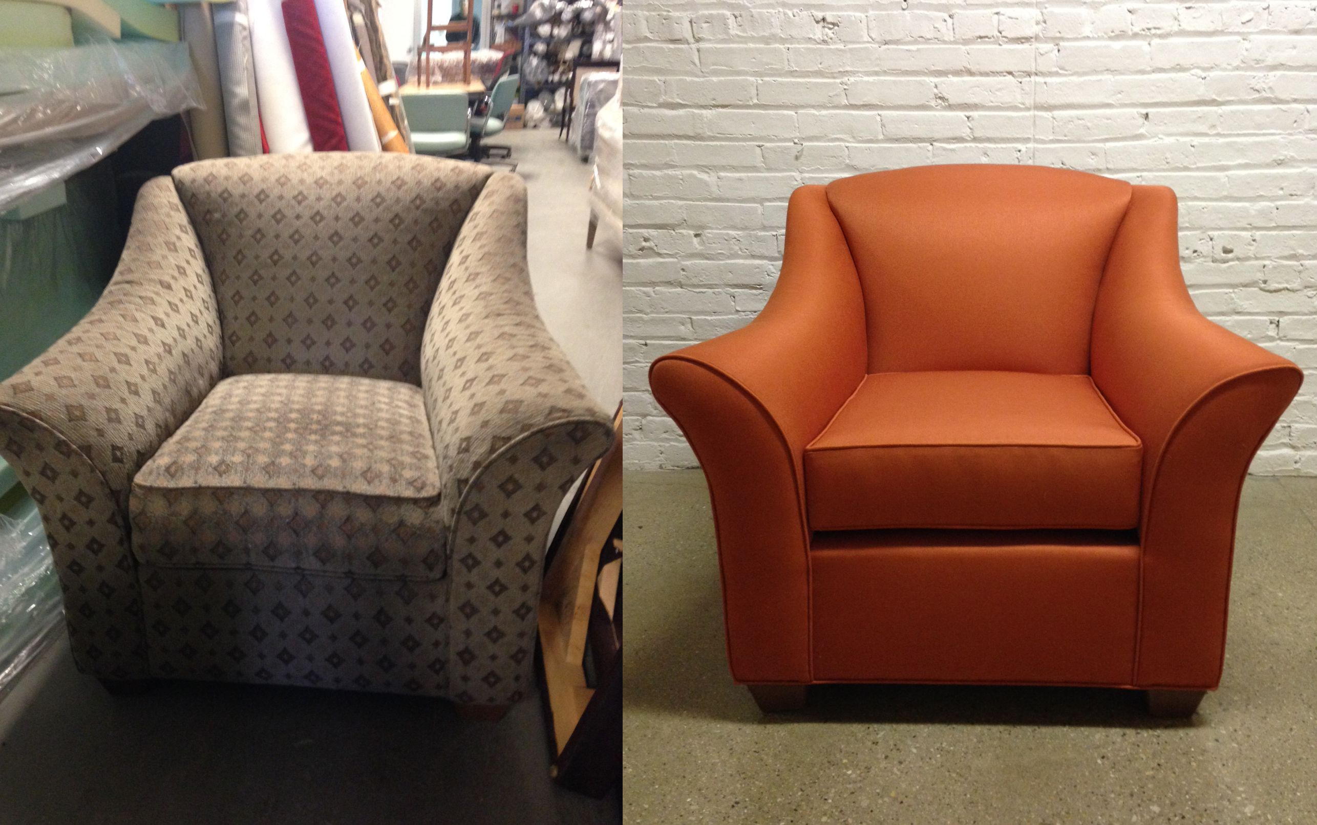 Before and after lounge chair reupholstered in a crypton fabric