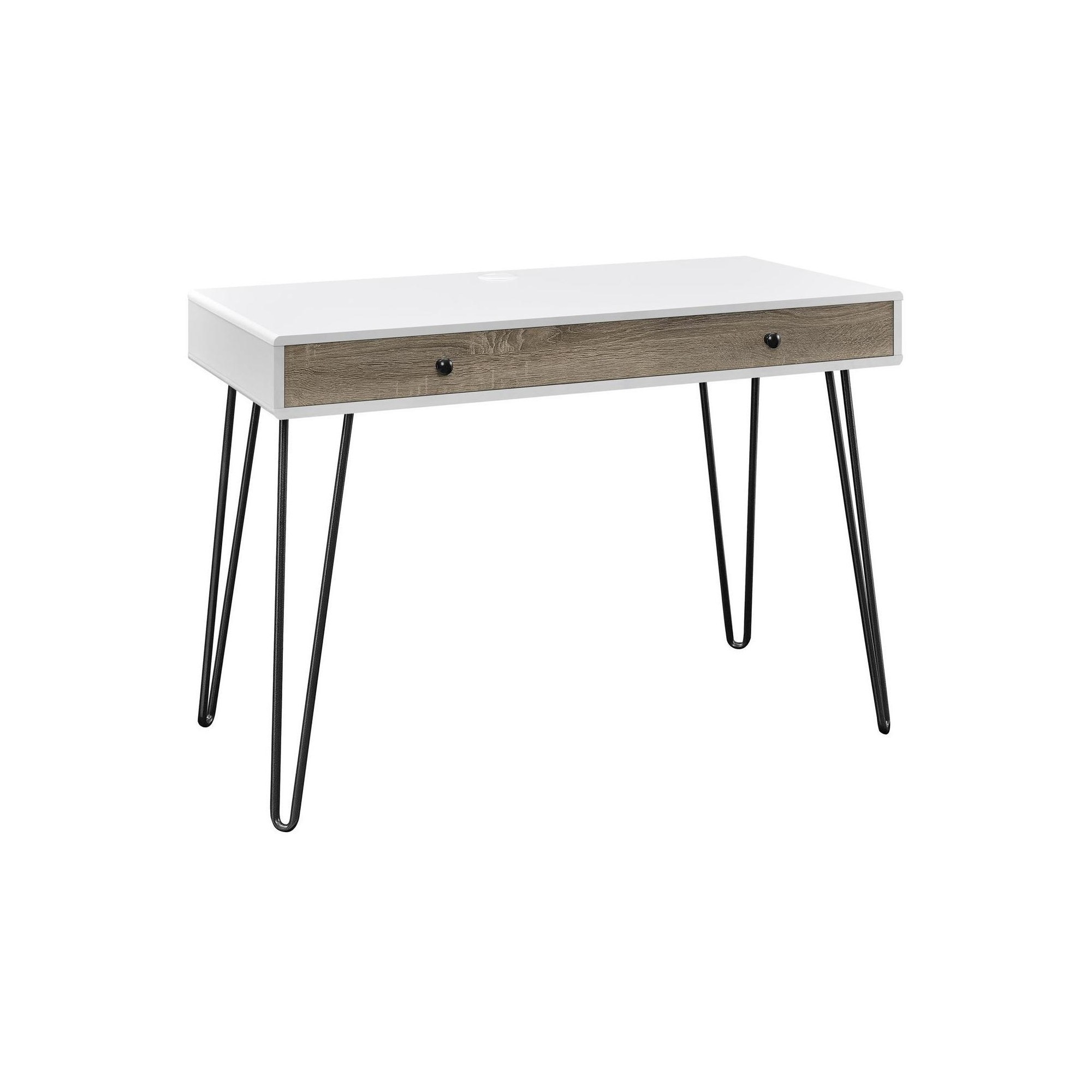 Owen Retro Hairpin Desk with Drawer White Sonoma Oak Altra