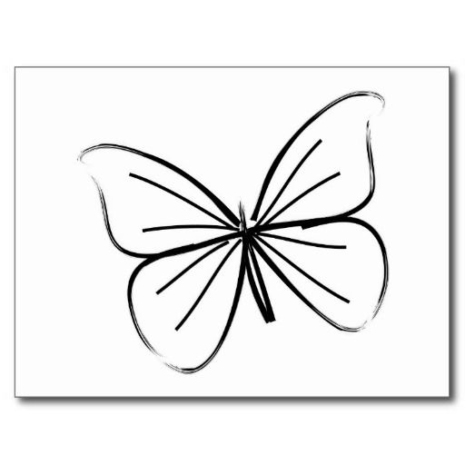 Line Drawing Butterfly Tattoo : Simple butterfly line drawing postcard