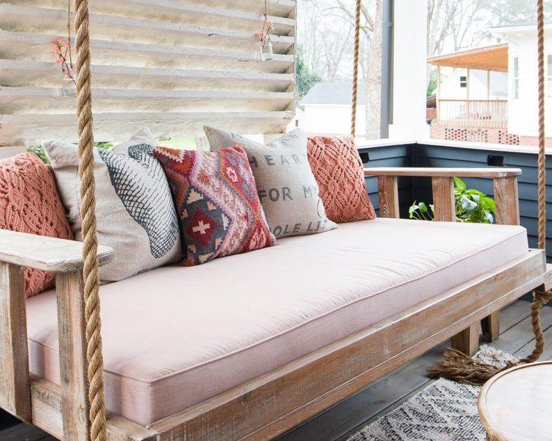 Sunbrella Custom Daybed Cushion Crib Bed Size Porch Swing Etsy In 2020 Daybed Cushion Porch Swing Outdoor Daybed Cushion