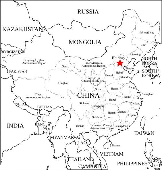 free coloring maps for kids | China provinces map: outline ...