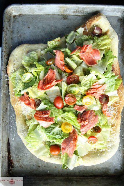 Salmon Cesar Salad Pizza by Heather Christo
