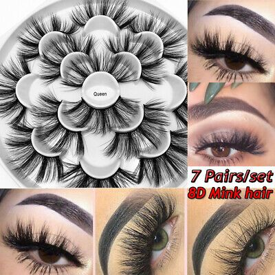 Tools Natural Long False Eyelashes Full Volume Wispies Fluffy 8D Faux Mink Hair