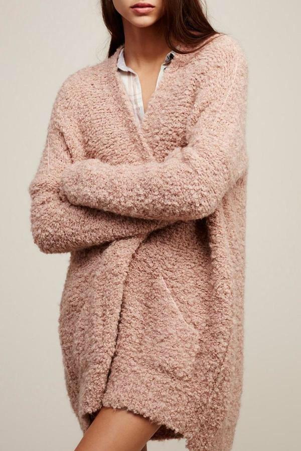 427113ceca Free People Chunky Pink Boucle Cardigan. Chunky blush cardigan ...