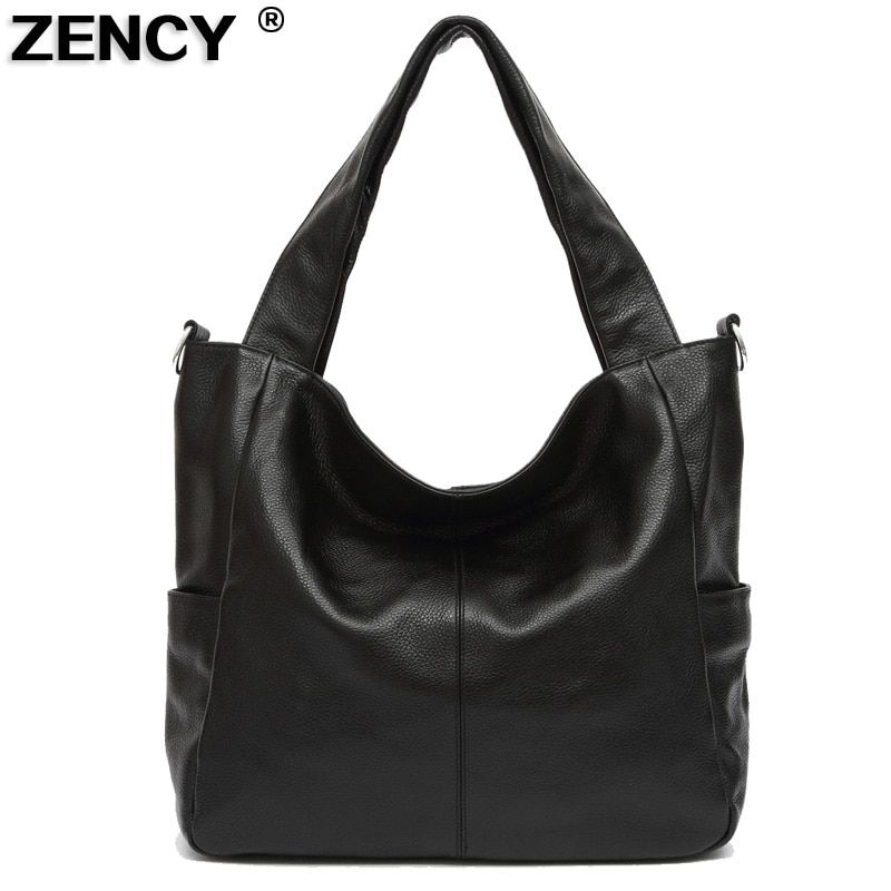 6e366682bd4349 ZENCY New Large Real Genuine Leather Handbags Luxury Famous Brands Women  Ladies Satchel Shoulder Messenger Black