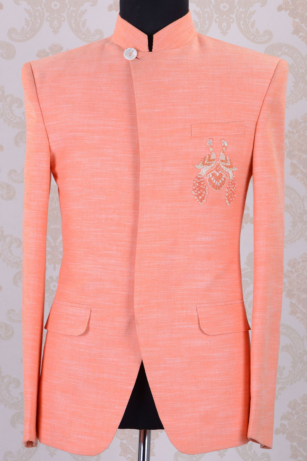 Jodhpuri Suits-Peach-Bead Work-ST625 | Túnicas y Moda masculina