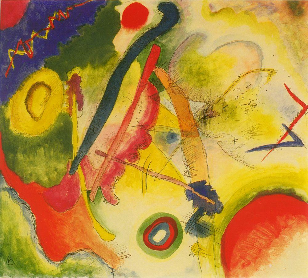 Kandinsky Watercolor With Red Corners Aquarell Mit Roten Ecken