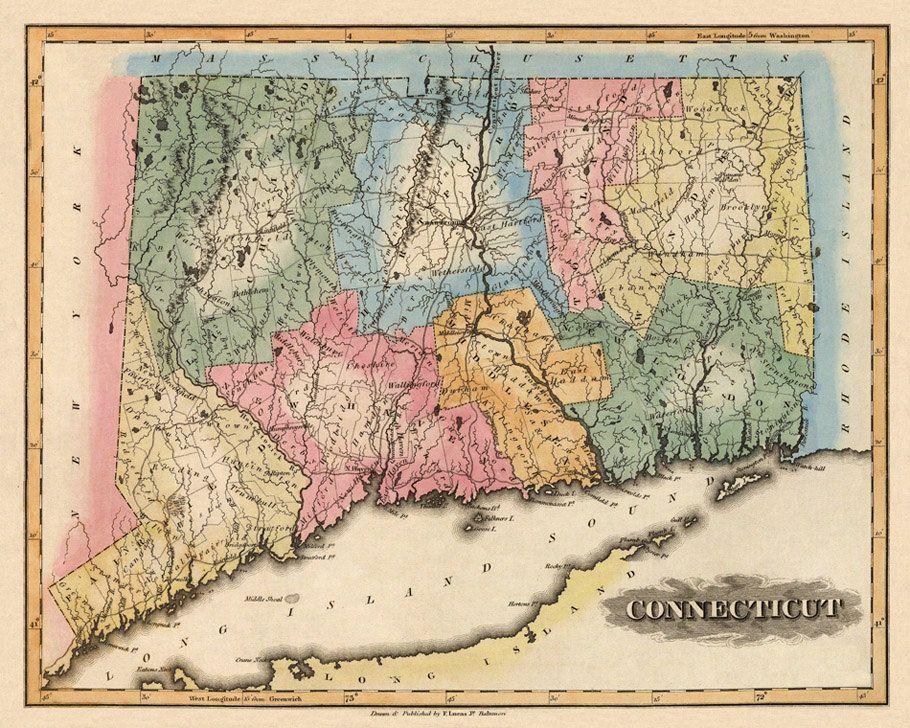 Connecticut map Vintage map of Connecticut fine reproduction