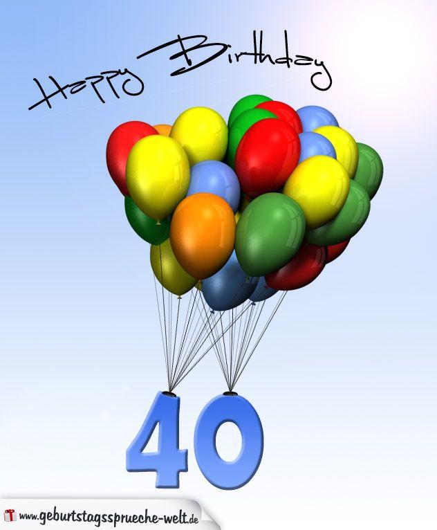 Geburtstagskarte mit Luftballons zum 40. Geburtstag ...