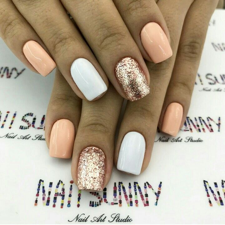 White Peach Gold Glitter Summer Nails Colors Designs Summer Nails Colors Summer Nails