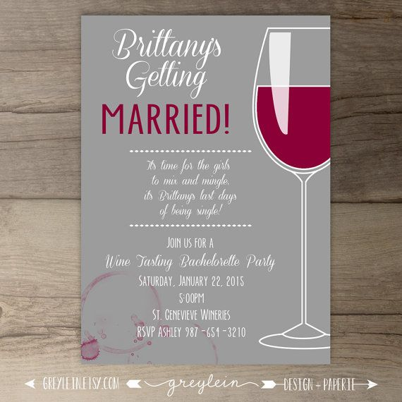 Lovely Wine Bridal Shower Invitations