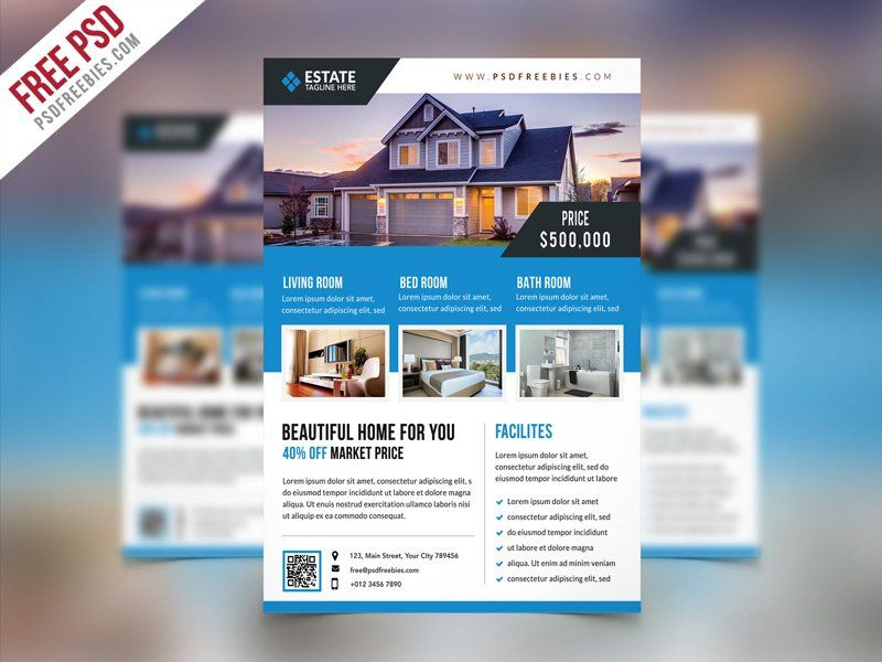Real Estate Flyer Template PSD PS Tips Pinterest Free flyer - advertising flyer template