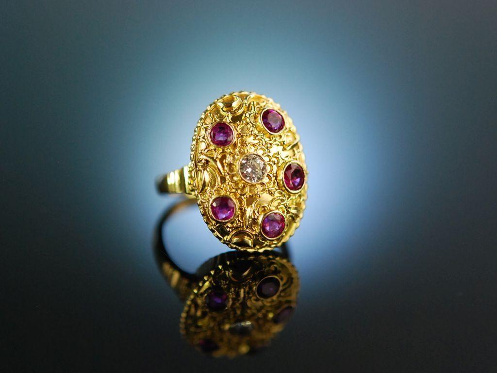 Munchen Um 1950 Goldschmiede Ring Gold 750 Feinste Rubine Diamant