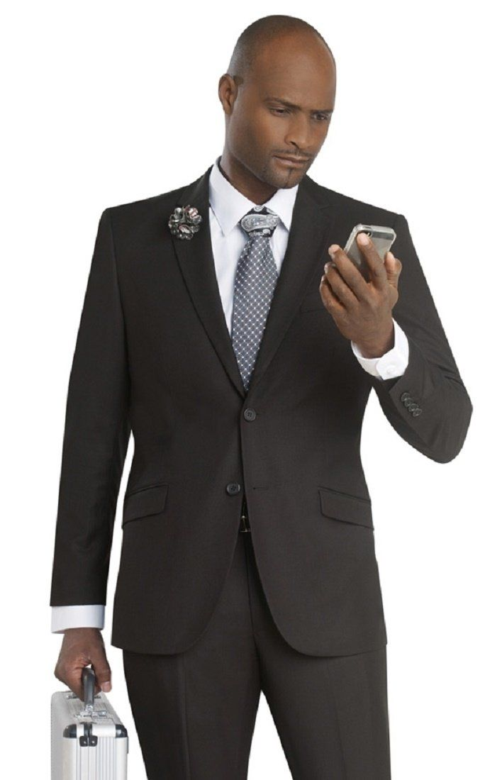 876fbd15b9569 Soprano Classic Business Slim Fit Men's Suit 2 Button Black M19022 at  Amazon Men's Clothing store: