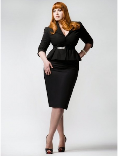 Curvy Woman Black Skirt Suit With Peplum Top Skinny Belt And Black