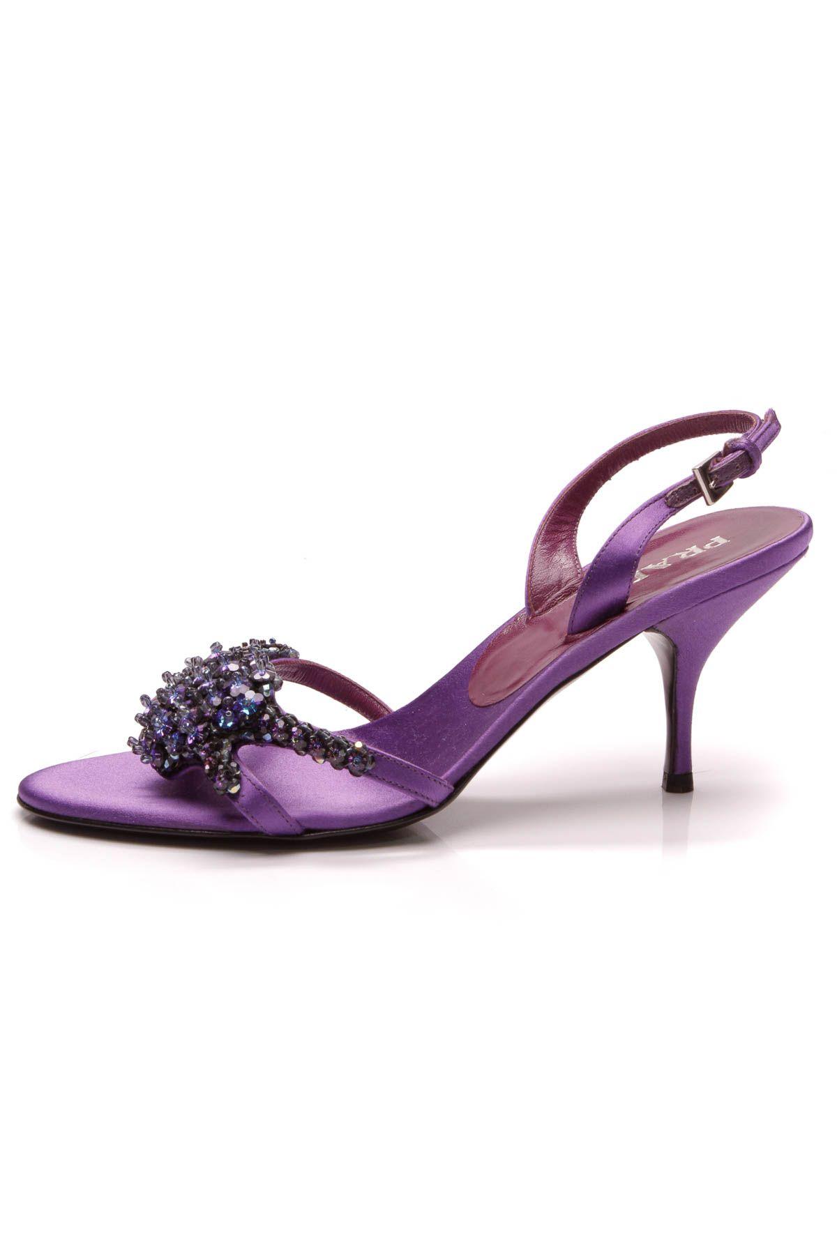 a501e2c4e6e Prada Jewel Embellished Heeled Sandals - Purple Satin