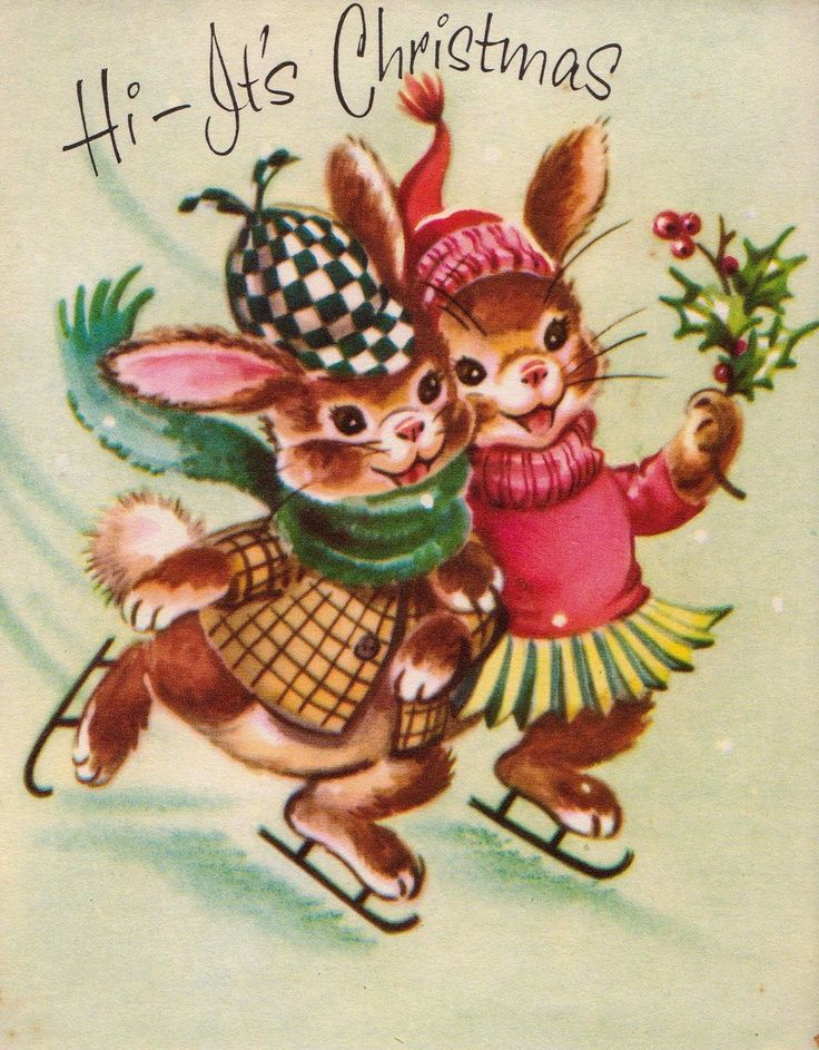 1960 vintage hi it s christmas bunny rabbits iceskating greetings card