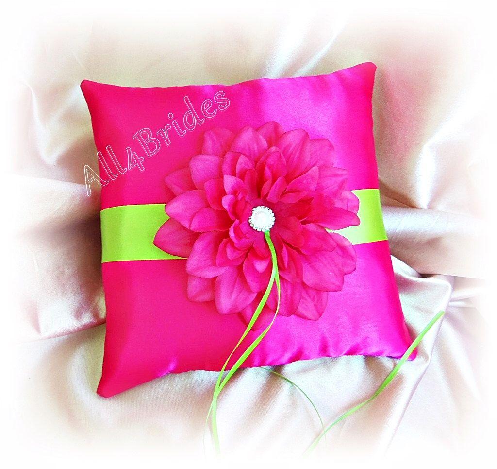 Hot pink and lime green wedding ring bearer pillow. | Pinterest ...