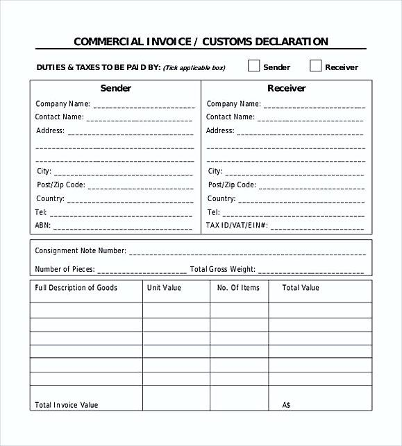 Commercial Invoice Template Excel Commercial Invoice Template