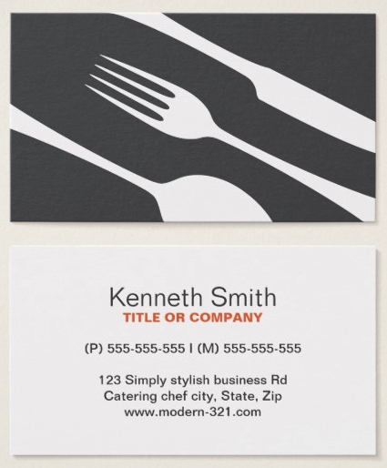 Chef Or Catering Business Cards With Modern Gray Cutlery Modern Minimalistic And Elegant Catering Restau Catering Business Cards Catering Business Catering