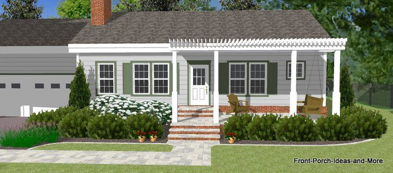 Great Front Porch Designs Illustrator On A Basic Ranch Home Design Ranch House Designs Porch Design Front Porch Design