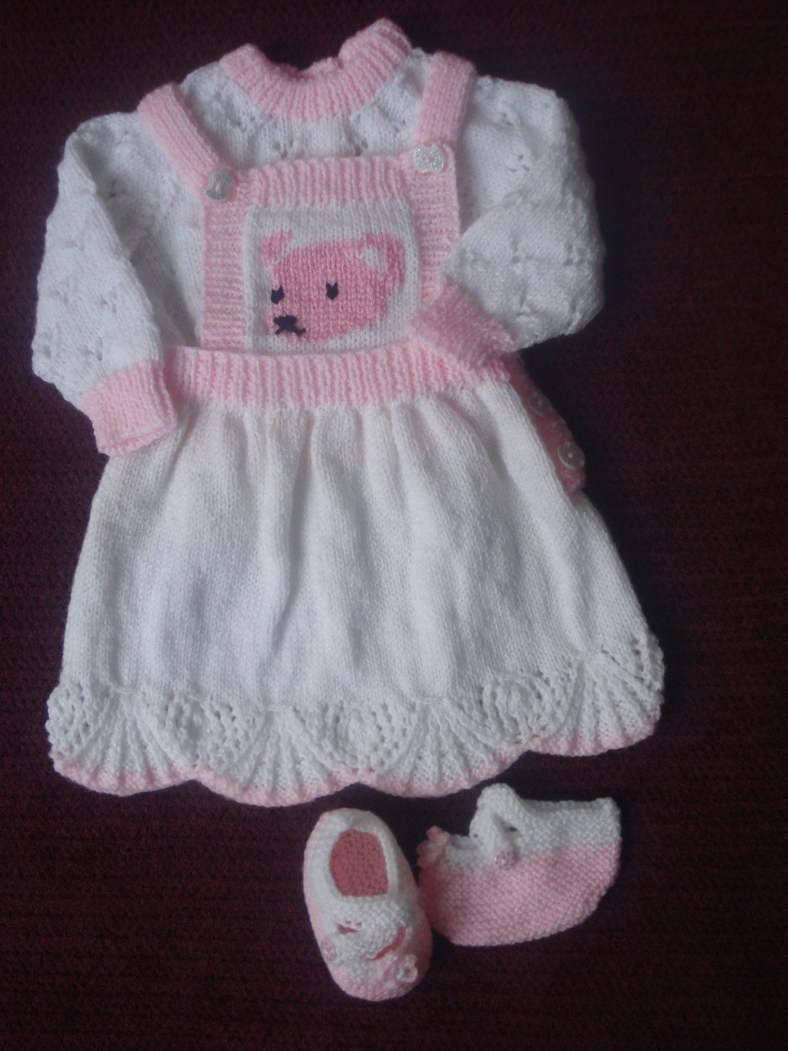 Pink dress baby  Hand Knitted Pink and White Dress with Teddy Face on Bib Front