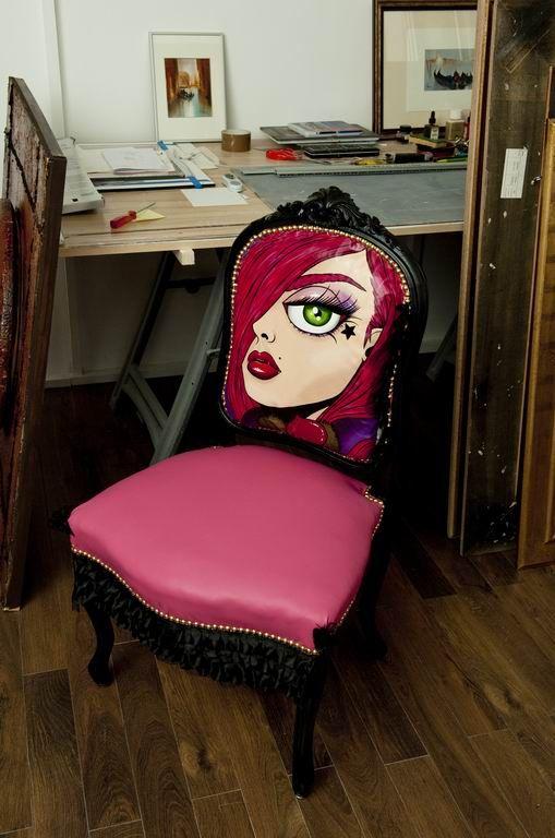 Ludmila chaise louis XV peinture pièce unique réfection rose - peindre avant de tapisser