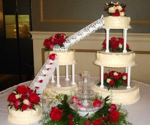 Traditional Wedding Cake With Pillars Bridges And Fountain
