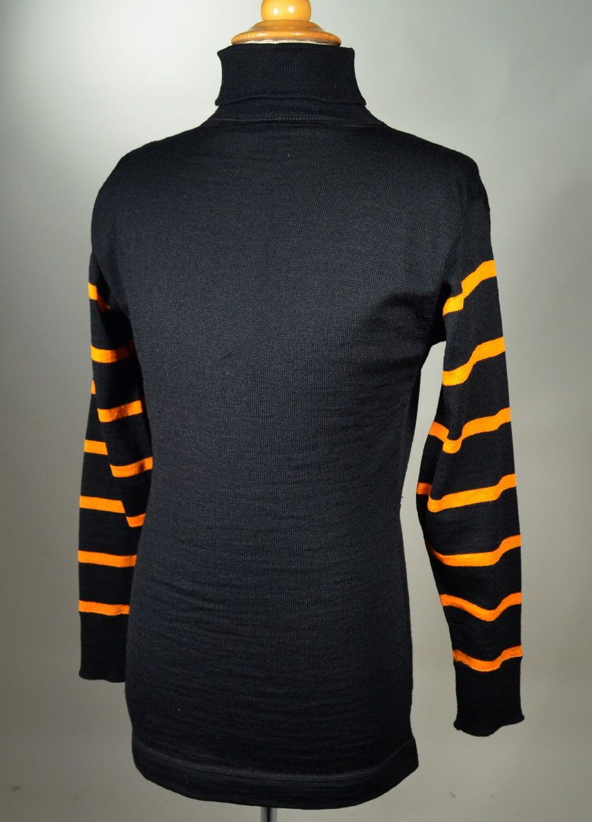 1910's SPALDING BLACK WITH ORANGE STRIPE WOOL SPORTING TURTLENECK ...
