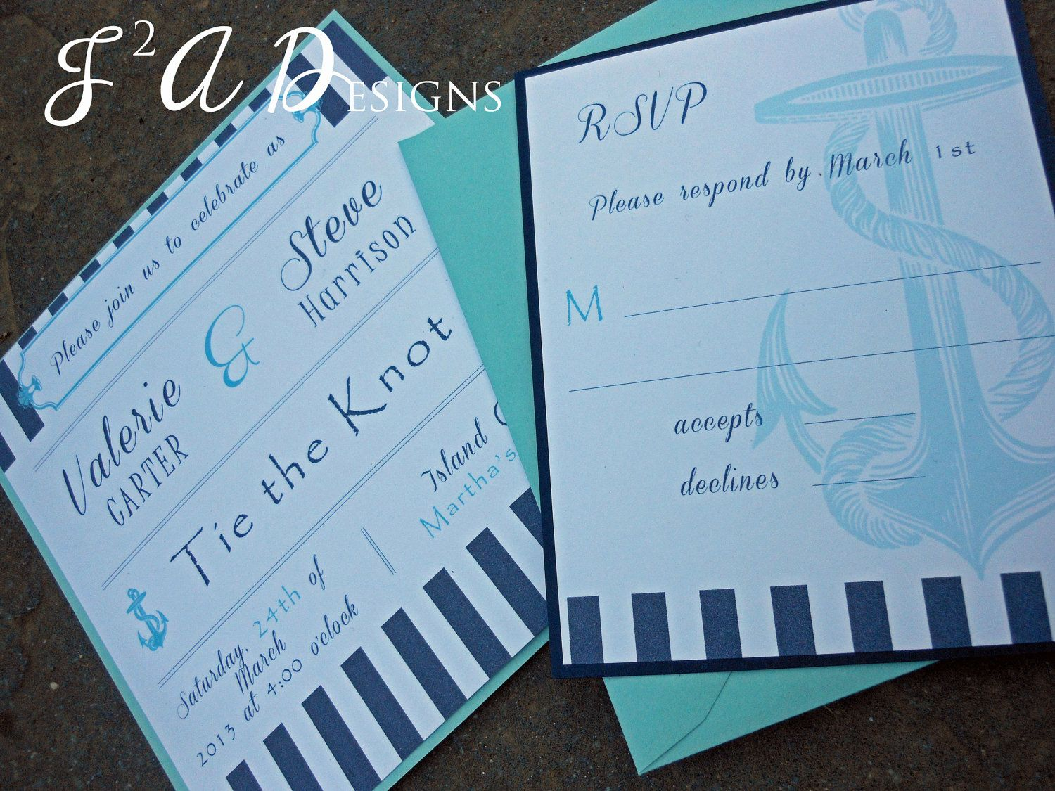 Nautical Stripe Anchor Square Wedding Invitation Navy Blue Aqua