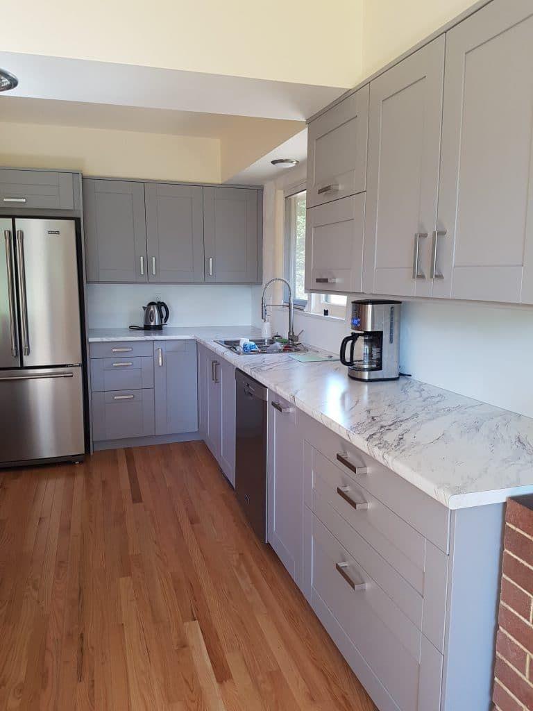 Best New Ikea Doorstyle Grimslov Gray Ikea Kitchen Installation 640 x 480