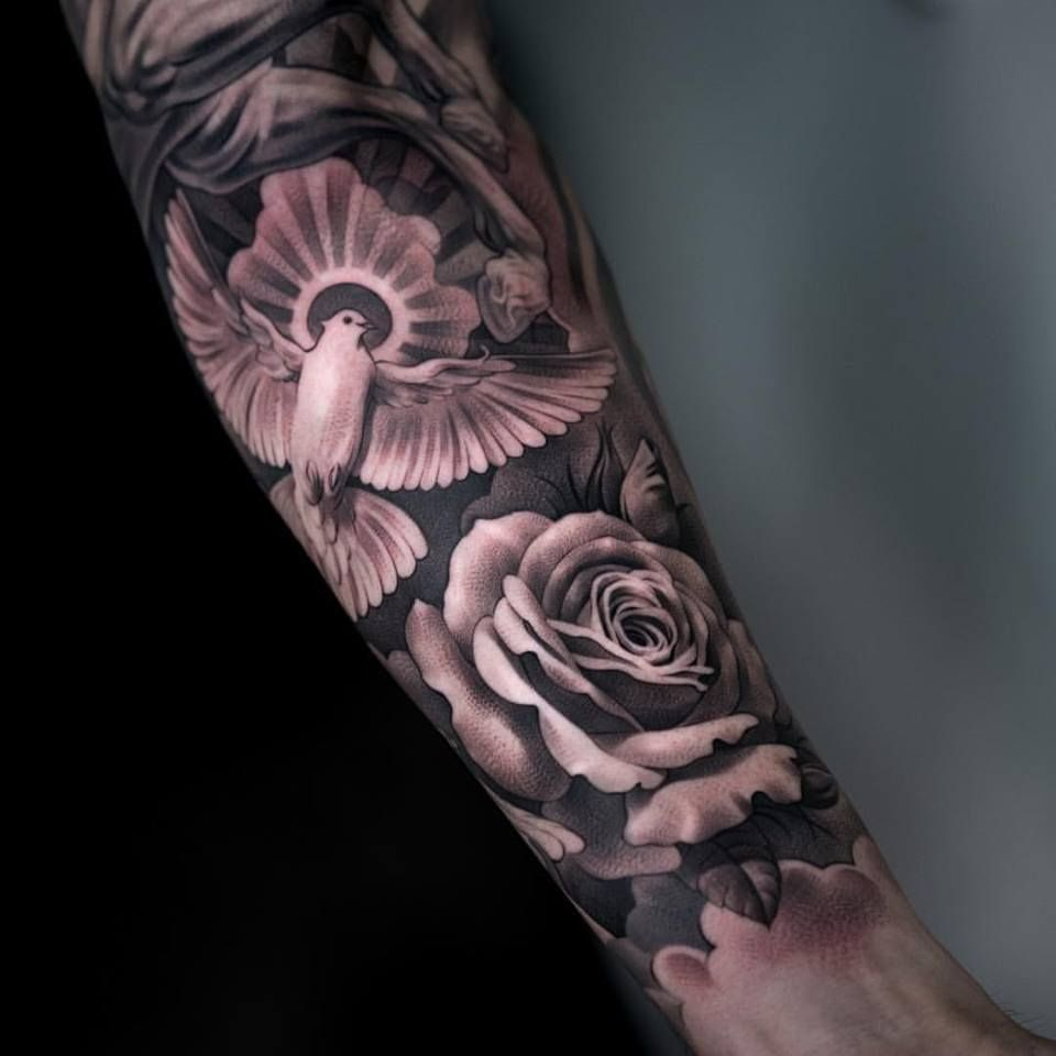 Grey rose and flying dove tattoo on left forearm tattoo for Dove and rose tattoo