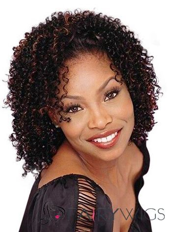Ancient Short Curly Brown No Bang African American Lace Wigs for Women 12 Inch