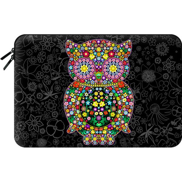 Owl Zentangle Floral   - Macbook Sleeve ($60) ❤ liked on Polyvore featuring accessories, tech accessories and macbook sleeve