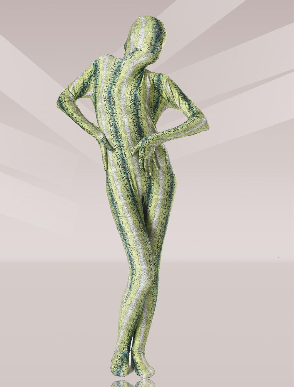 $98.99 Olive Green Snakeskin Motif Lycra Unisex Zentai Suit